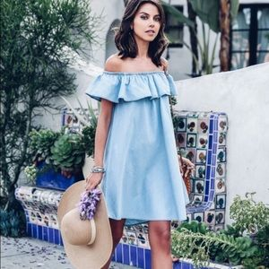 NWT Express Chambray Blue Off the Shoulder Dress M